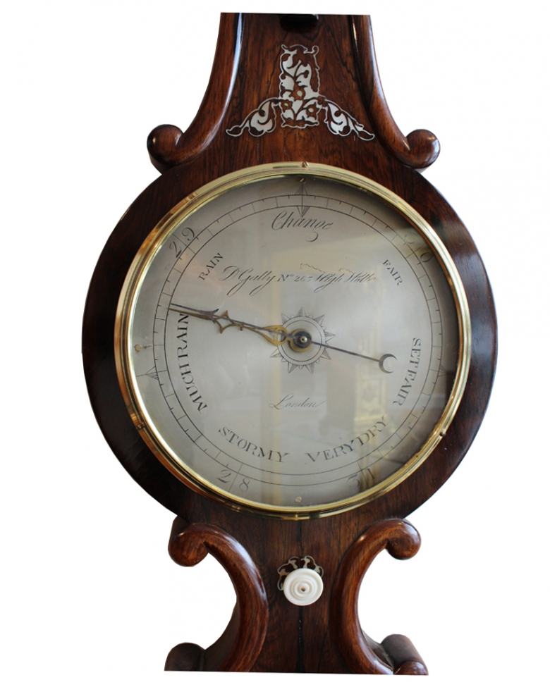 Rosewood Barometer Silvered dial